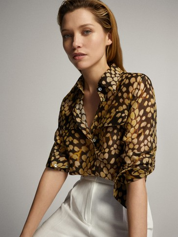 SPOT PRINT COTTON SILK SHIRT