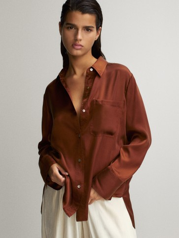 SATIN SHIRT WITH POCKETS