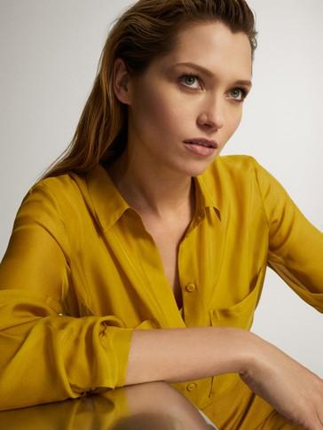 قميص من الحرير 100% مع جيوب