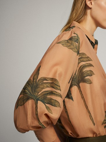 PALM TREE PRINT COTTON SILK SHIRT