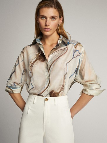 WATERCOLOUR PRINT COTTON AND SILK SHIRT