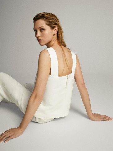 COTTON LINEN STRAPPY TOP