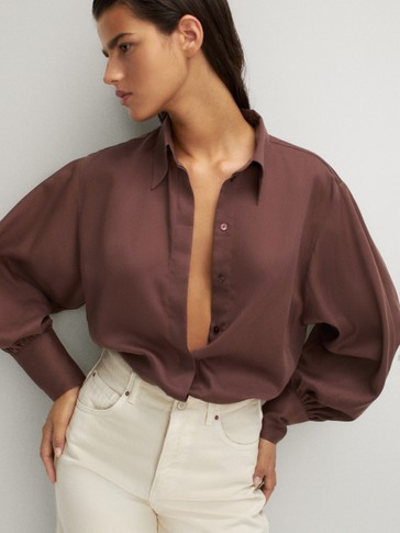 COTTON SILK SHIRT WITH PUFF SLEEVES