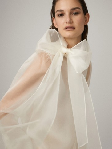 100% SILK ORGANZA SHIRT WITH TIE DETAIL