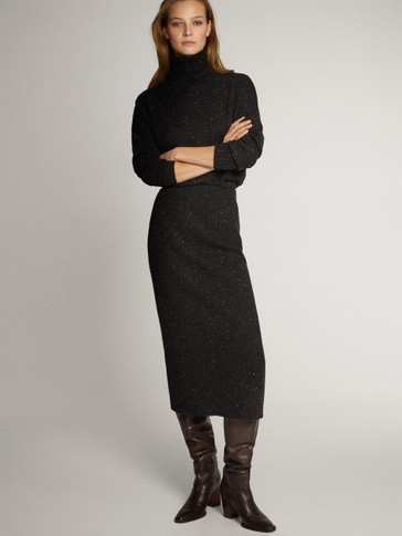 BLACK WOOL KNICKERBOCKER YARN EFFECT SKIRT