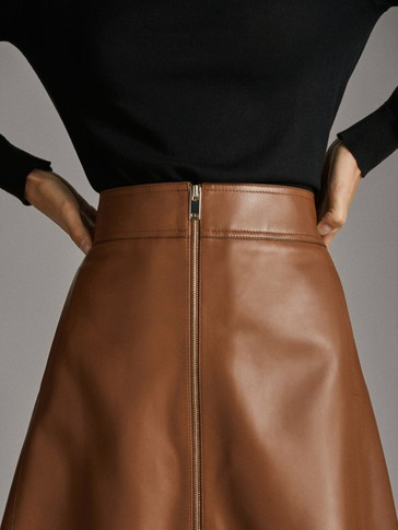 SHORT NAPPA ZIPPED SKIRT