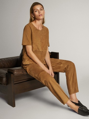 STRAIGHT FIT SUEDE TROUSERS