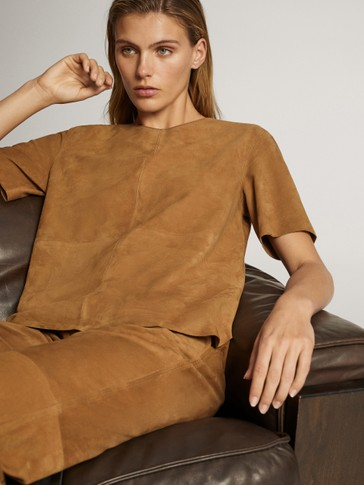 Short-sleeve suede top