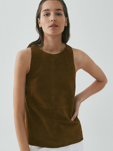 LIMITED EDITION SUEDE SLEEVELESS TOP