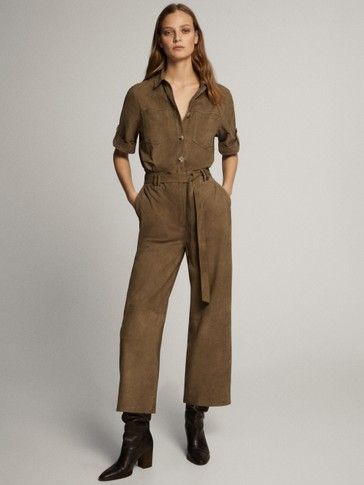 SUEDE JUMPSUIT WITH POCKETS
