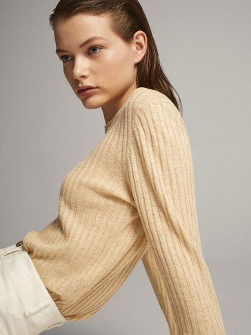 100% LINEN RIBBED SWEATER