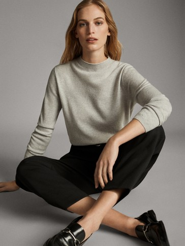 WOOL AND CASHMERE FUNNEL NECK SWEATER