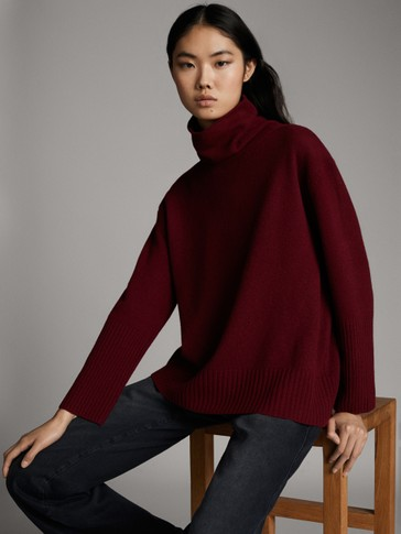 WOOL CASHMERE ROLL NECK CAPE SWEATER