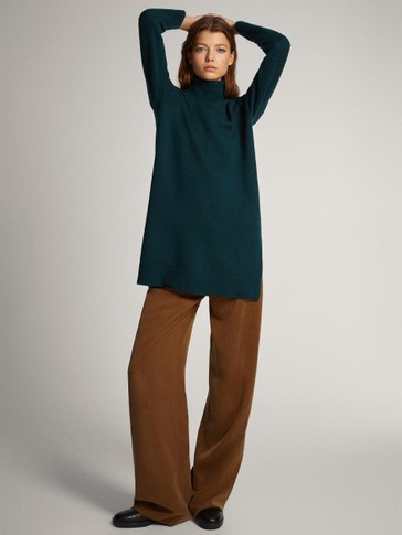 Premium wool and cashmere tunic sweater