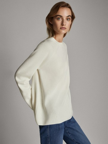 Purl-knit funnel neck wool sweater
