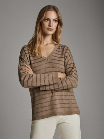 Striped v-neck sweater