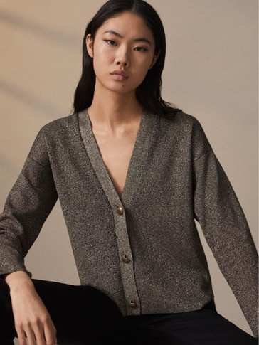 Buttoned cardigan with metallic detail