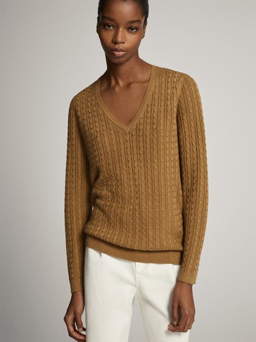 V-neck cable-knit sweater