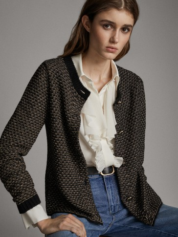 BLACK TEXTURED BUTTONED CARDIGAN