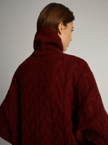 CABLE KNIT WOOL CASHMERE CAPE SWEATER PREMIUM