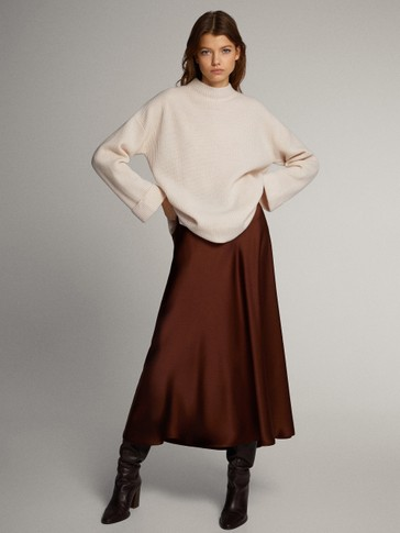 Premium cape-style purl knit wool and cashmere sweater