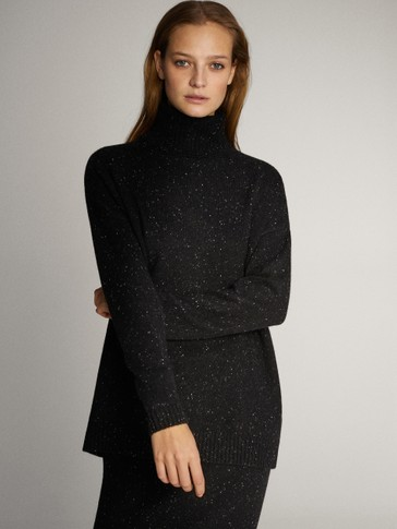 KNICKERBOCKER YARN EFFECT HIGH NECK WOOL AND CASHMERE SWEATER