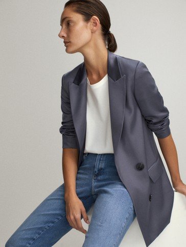 DOUBLE-BREASTED RAYON BLAZER