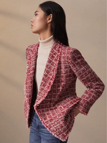 Tweed jacket with frayed detail