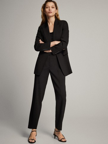 CREPE SINGLE-BUTTON BLAZER