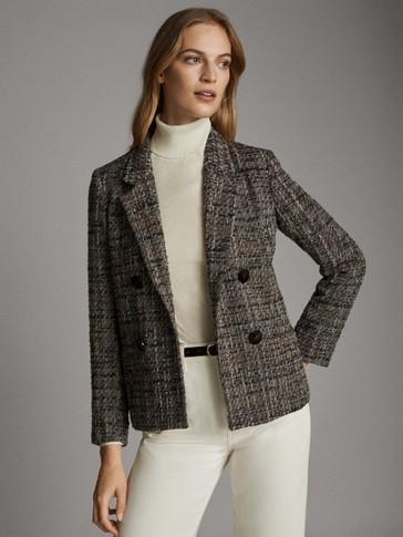 Textured weave blazer