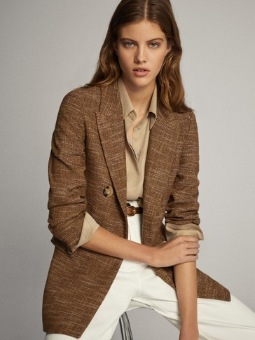 Textured wool cotton false double-breasted blazer