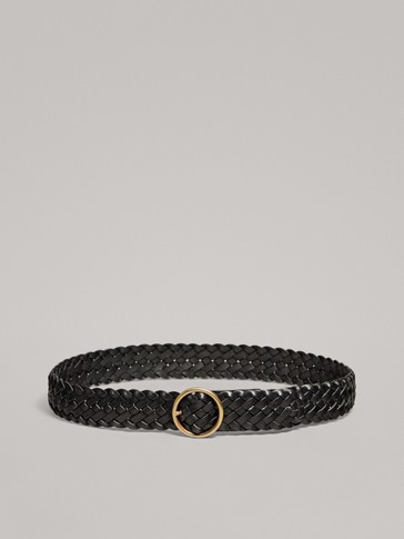 BRAIDED LEATHER BELT WITH ROUND BUCKLE