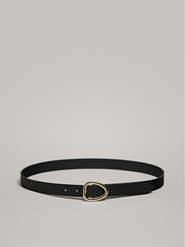 BLACK LEATHER BELT WITH TRIANGULAR BUCKLE
