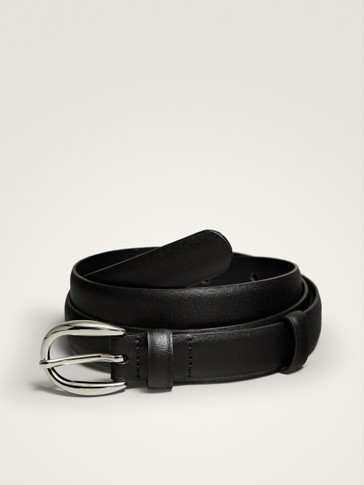 BLACK LEATHER BELT WITH ROUND BUCKLE