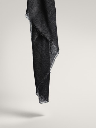 BLACK WOOL SCARF WITH METALLIC THREAD