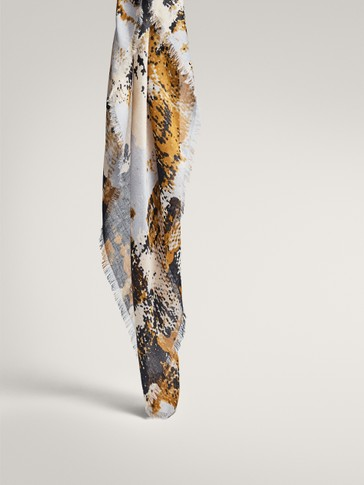 MODAL AND WOOL PRINT SCARF