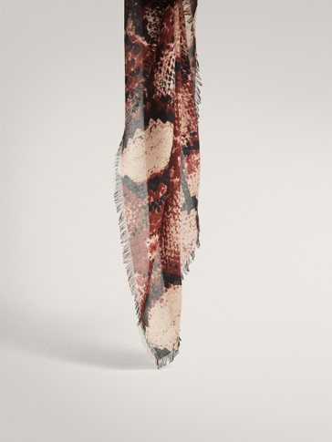 SNAKESKIN PRINT MODAL AND WOOL SCARF