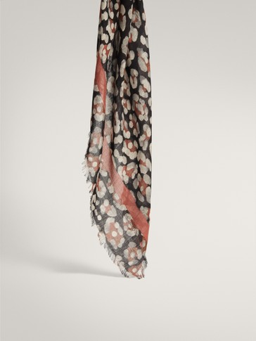 LEOPARD PRINT FLORAL MODAL WOOL SCARF