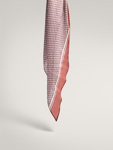 Geometric print 100% silk scarf