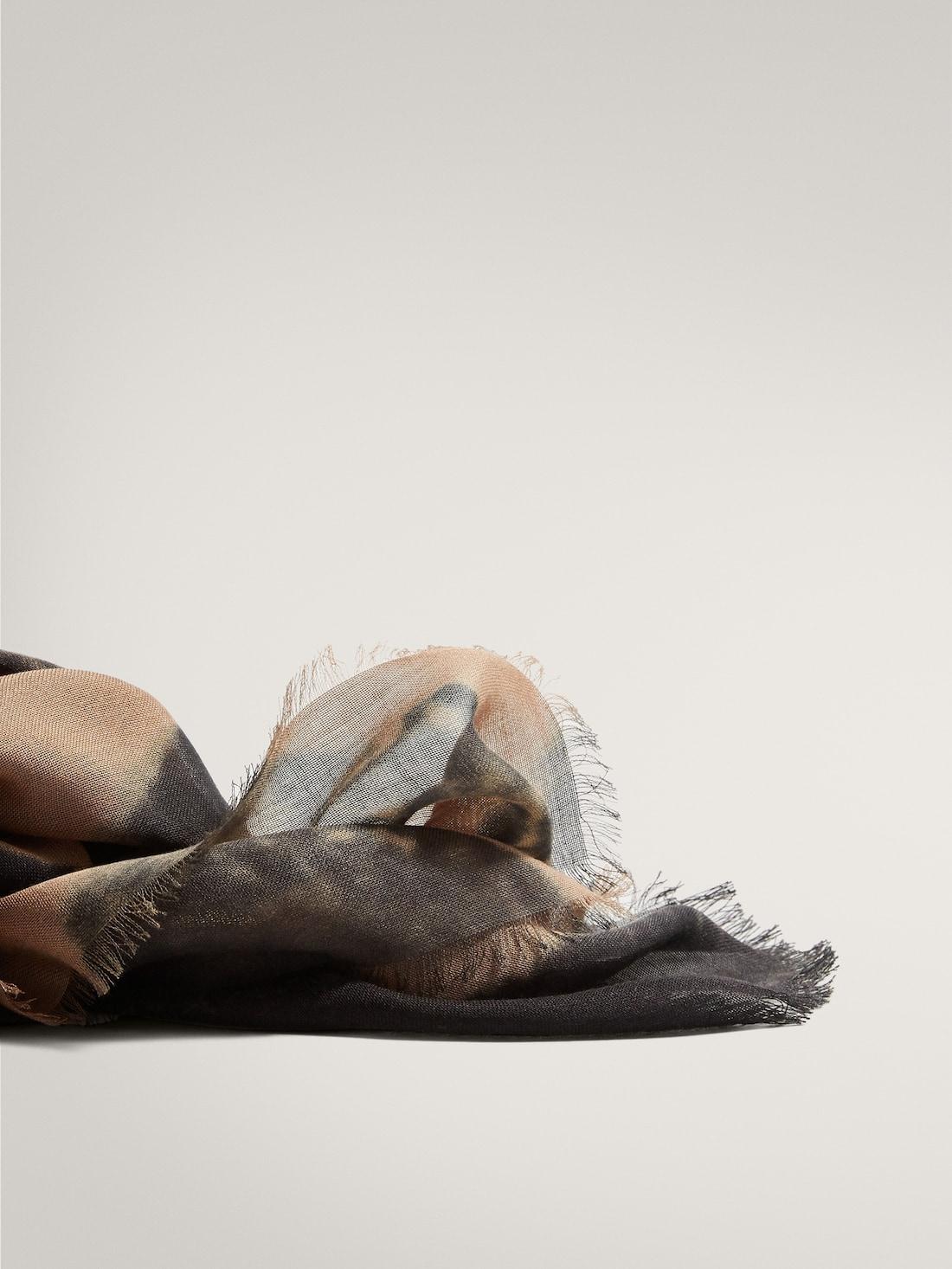 ДВУХЦВЕТНЫЙ ШАРФ ИЗ МОДАЛА И ШЕРСТИ С ПРИНТОМ БЕЖЕВЫЙ Massimo Dutti