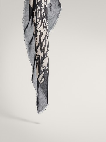 BLACK SPLASH PRINT MODAL WOOL SCARF