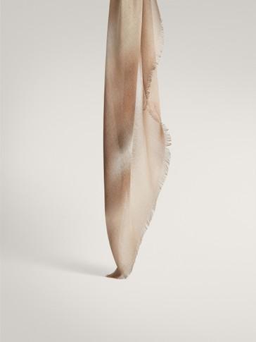 Sfumato print modal silk scarf