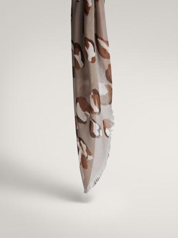 Spot print modal silk scarf