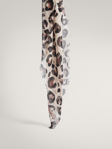 Leopard print modal silk scarf