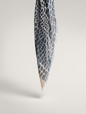Printed modal silk scarf