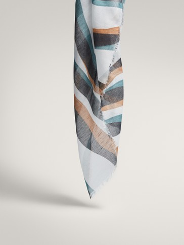 STRIPED MODAL LINEN AND SILK SCARF