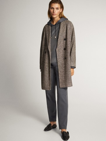 Textured weave coat with buttons