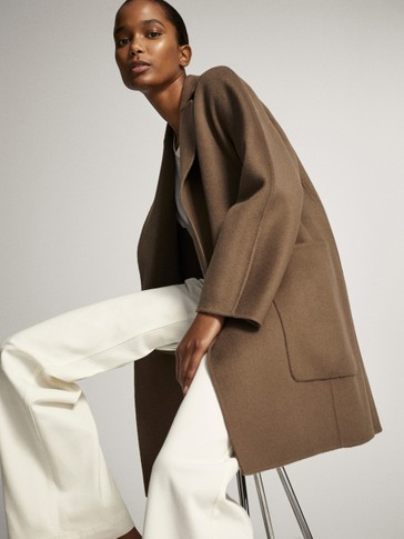 Short wool wraparound coat