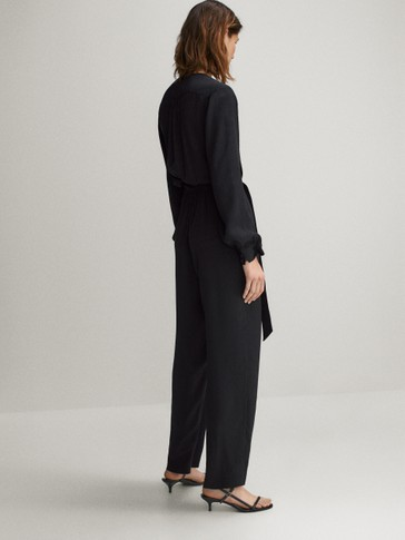 BLACK JACQUARD JUMPSUIT