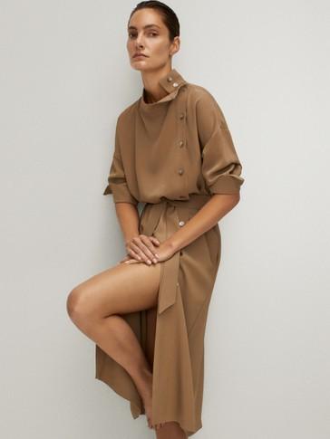 BUTTONED HIGH NECK DRESS WITH BELT